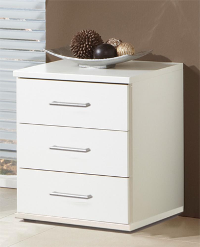 chevet 3 tiroirs oskar blanc. Black Bedroom Furniture Sets. Home Design Ideas