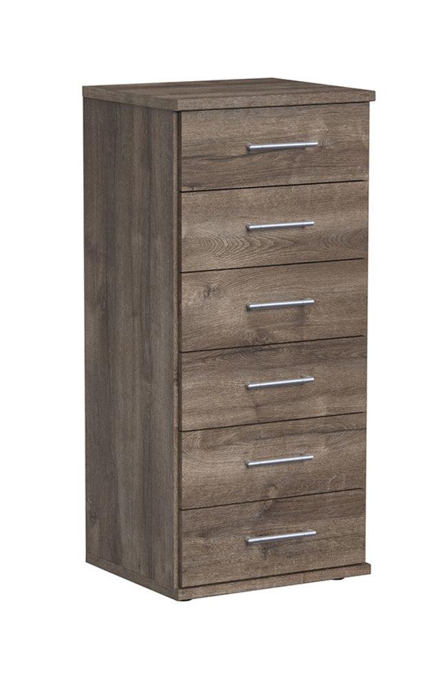 chiffonnier 6 tiroirs oskar chene fonce. Black Bedroom Furniture Sets. Home Design Ideas