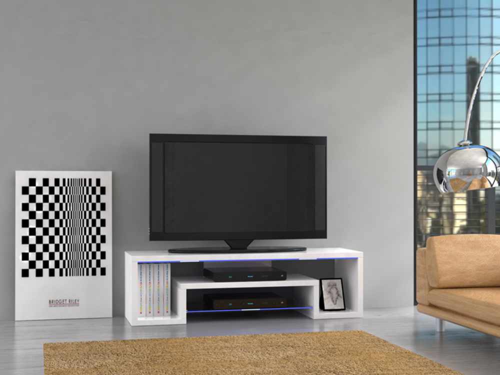 Meuble Tv 100 X 40 : meubles-tv-hifi-cara-blanc-brillant-l-137-x-h-40 ...
