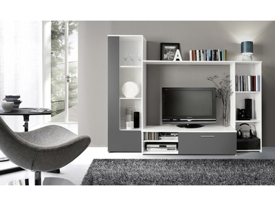 Living clou blanc gris for Meubles sejour contemporain pas cher
