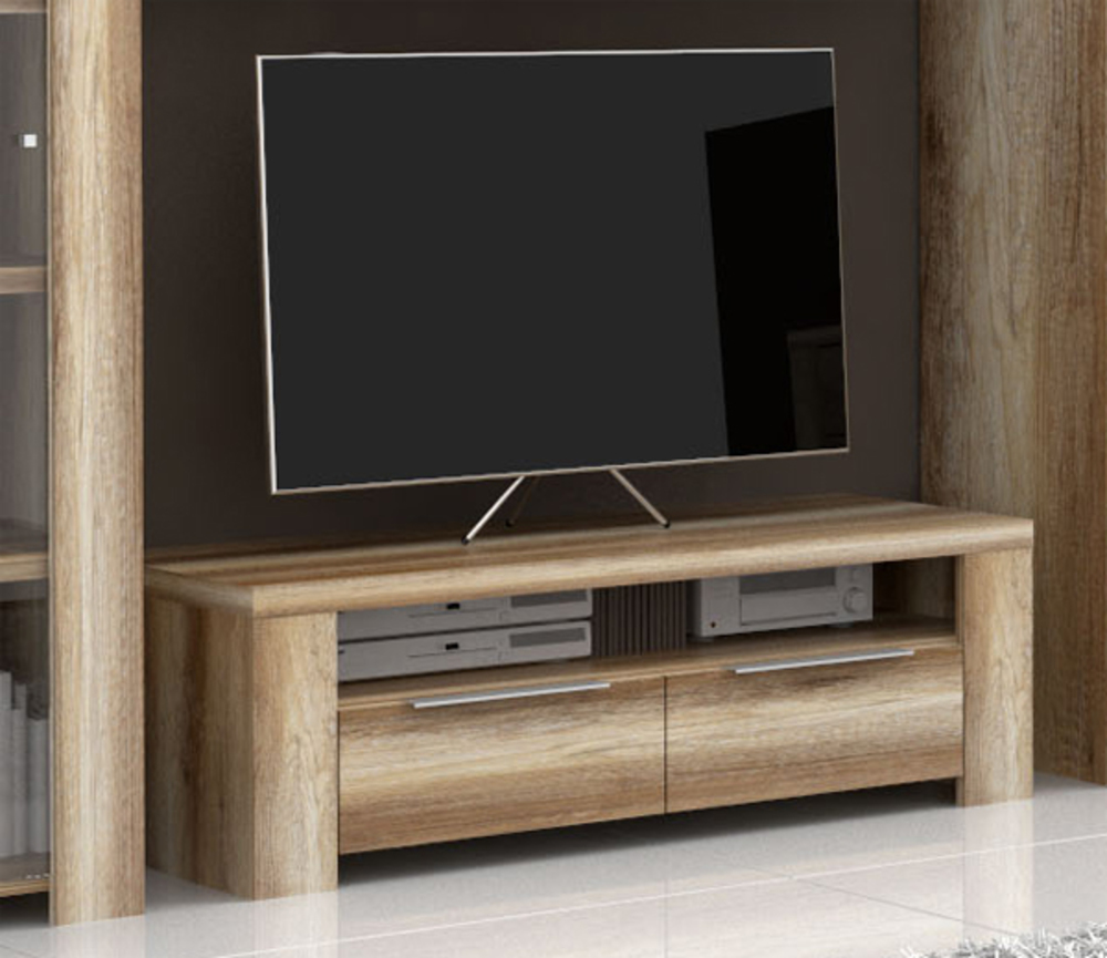 Meuble Tv Led Hifi : Meuble Tv 2 Tiroirs 1 Niche Calpe Chene Antique