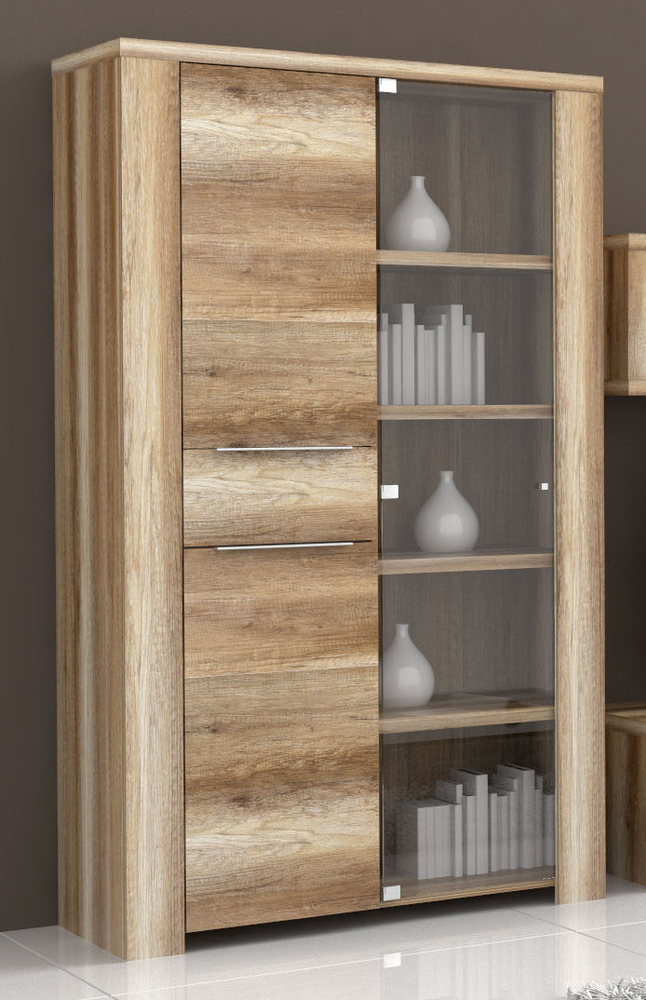 vitrine 3 portes calpe chene antique. Black Bedroom Furniture Sets. Home Design Ideas