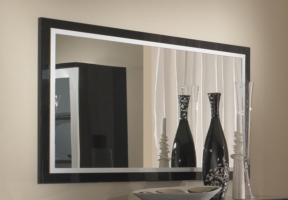 Miroir roma laqu bicolore noir blanc l 180 x h 85 - Miroir noir et blanc ...