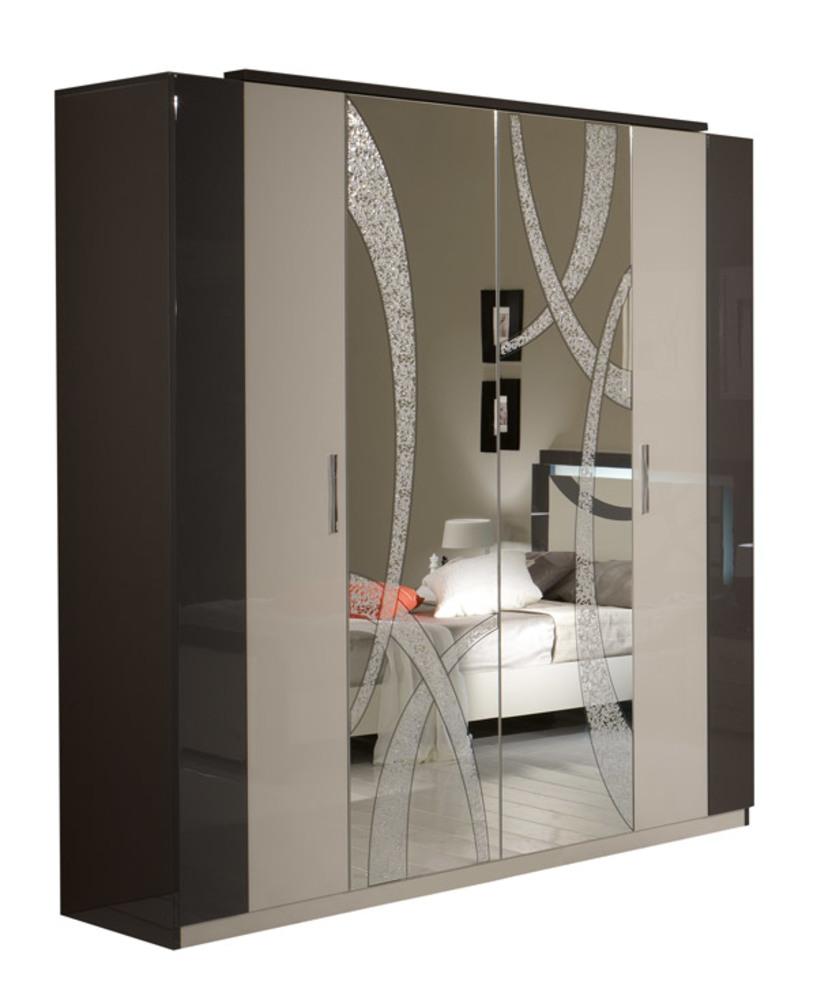 Armoire 4 portes micol gris perle gris anthracite for Porte interieur gris anthracite