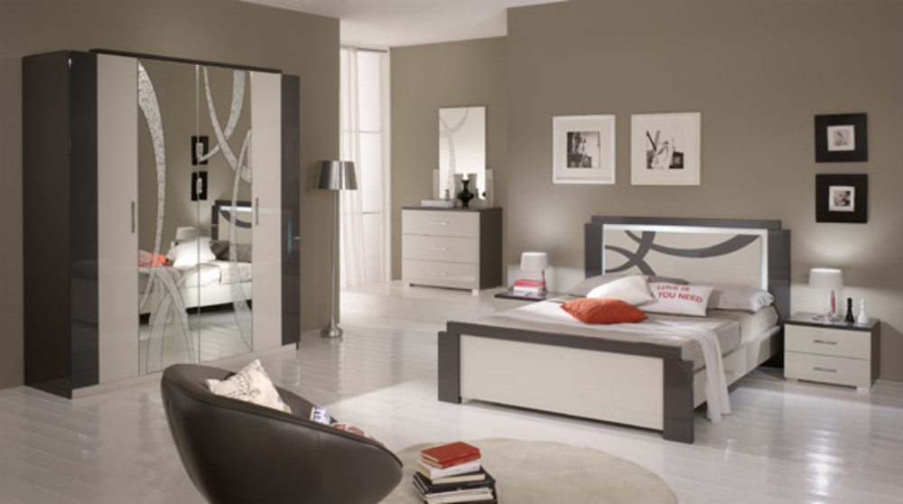 lit 140 x 190 avec eclairage micol gris perle gris anthracite. Black Bedroom Furniture Sets. Home Design Ideas