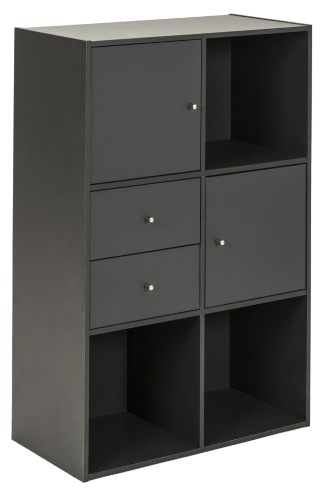 Cube 6 cases 2 portes 2 tiroirs for Meuble 2 cases