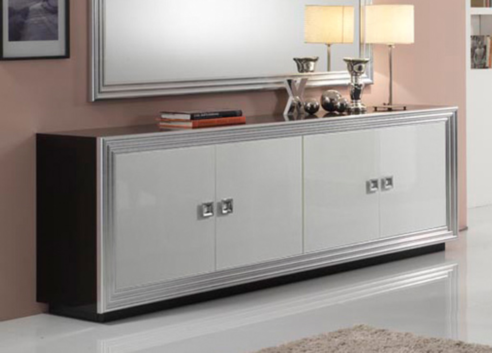 bahut 4 portes silver laque bicolore noir blanc. Black Bedroom Furniture Sets. Home Design Ideas