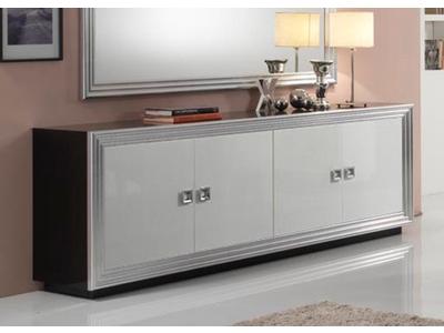 Bahut 4 portes Silver laque bicolore