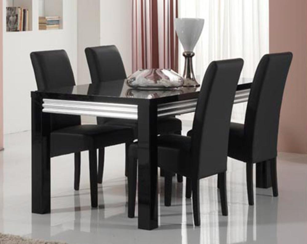 Table de repas silver laque noire noir l 160 x h 76 x p 90 for Table rallonge noire