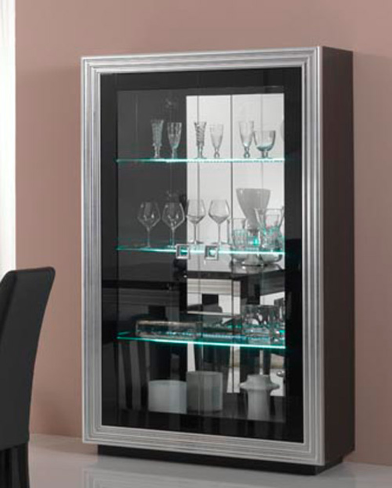 vitrine 2 portes avec leds pour etageres silver laque noire. Black Bedroom Furniture Sets. Home Design Ideas