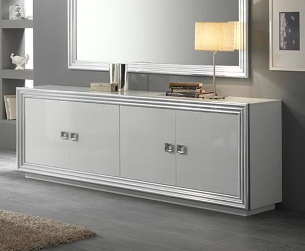 bahut 4 portes silver laque blanc. Black Bedroom Furniture Sets. Home Design Ideas