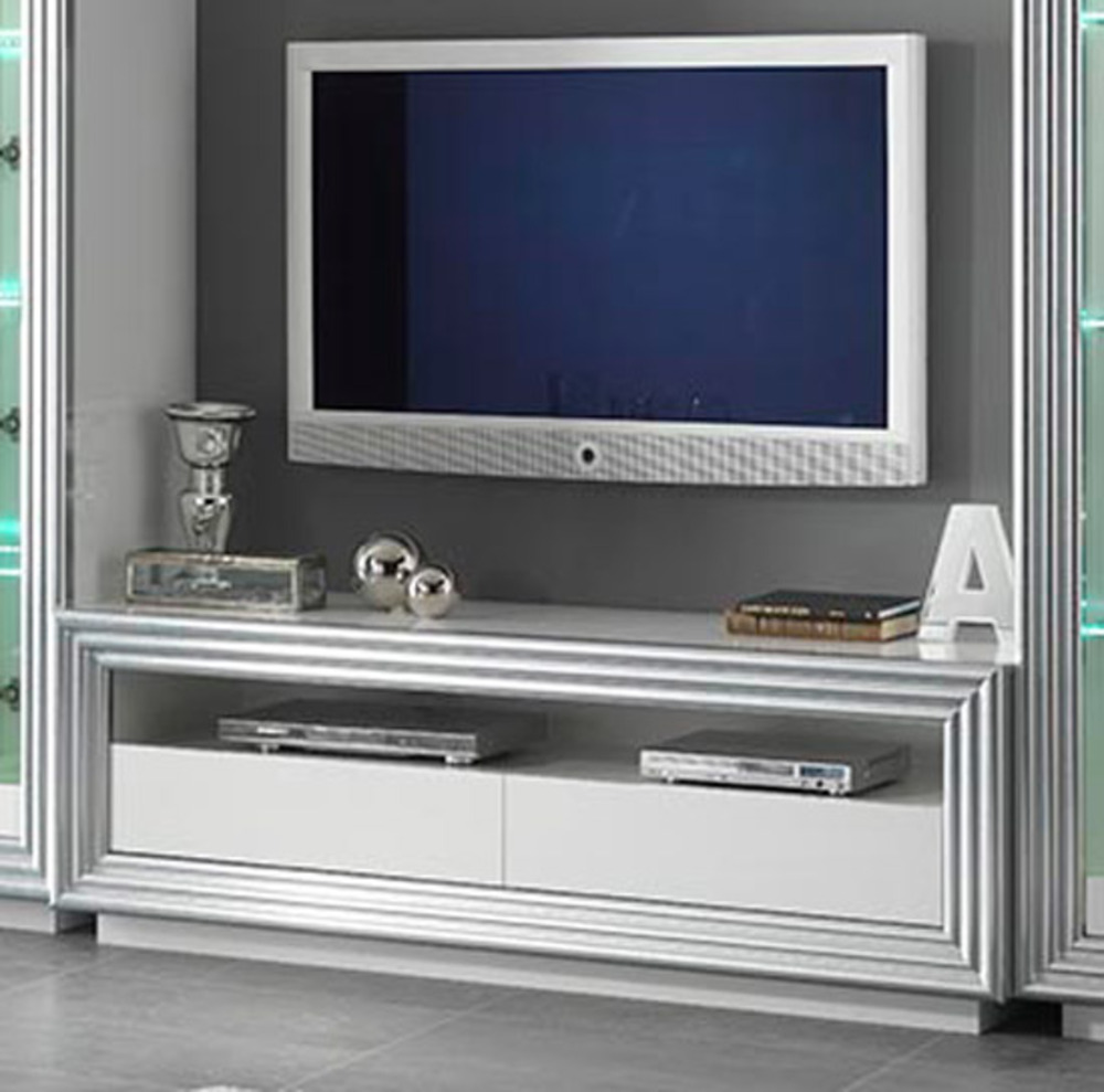 Meuble tv silver laque blanc for Meuble hifi blanc