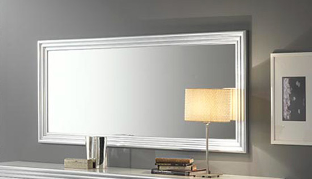 miroir silver laque blanc argent l 143 x h 85. Black Bedroom Furniture Sets. Home Design Ideas