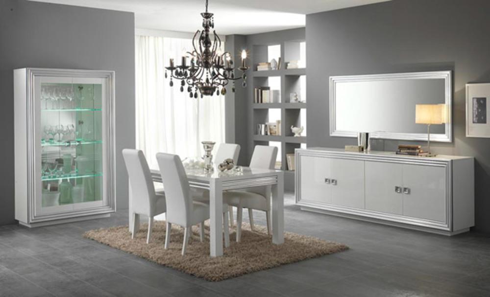 Miroir silver laque blanc argent l 143 x h 85 - Grand miroir blanc laque ...