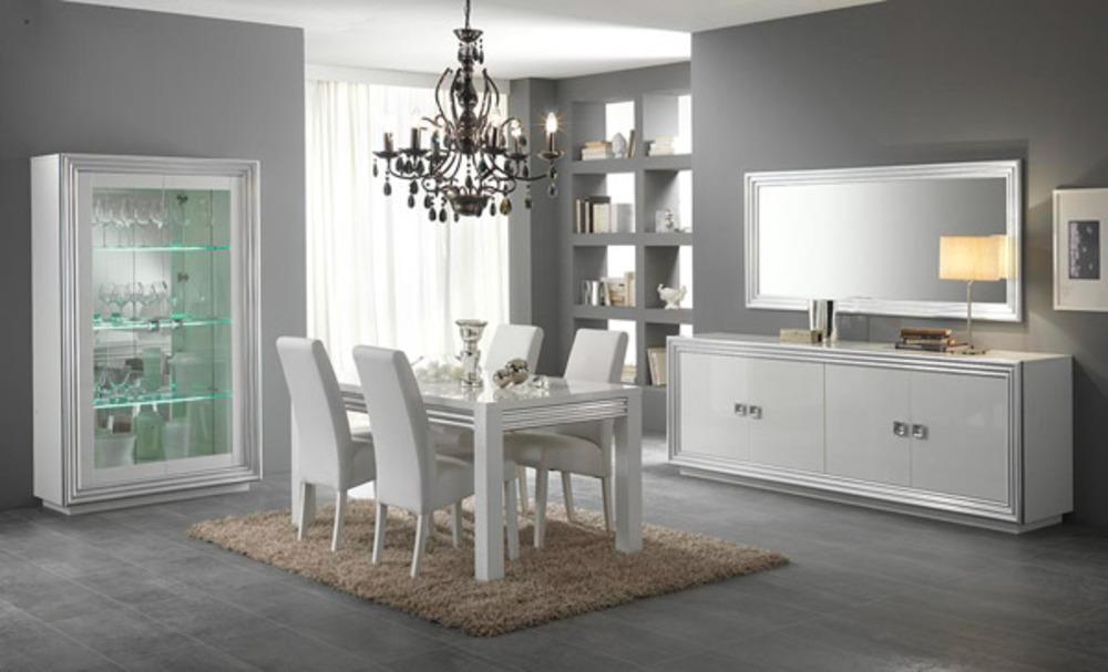 Table de repas silver laque blanc for Table de sejour blanc laque