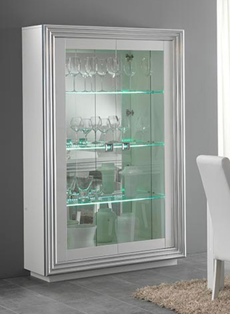 vitrine 2 portes avec leds pour etageres silver laque blanc. Black Bedroom Furniture Sets. Home Design Ideas