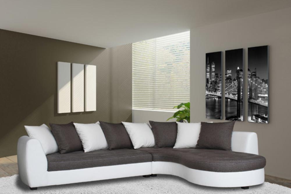 canapé d'angle à droite haricot blanc/gris taupe