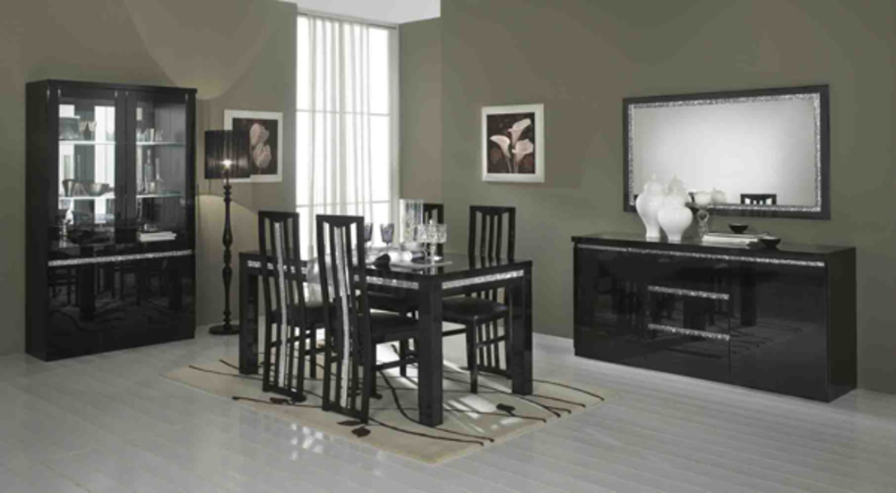 salle a manger complete cromo laque noir. Black Bedroom Furniture Sets. Home Design Ideas
