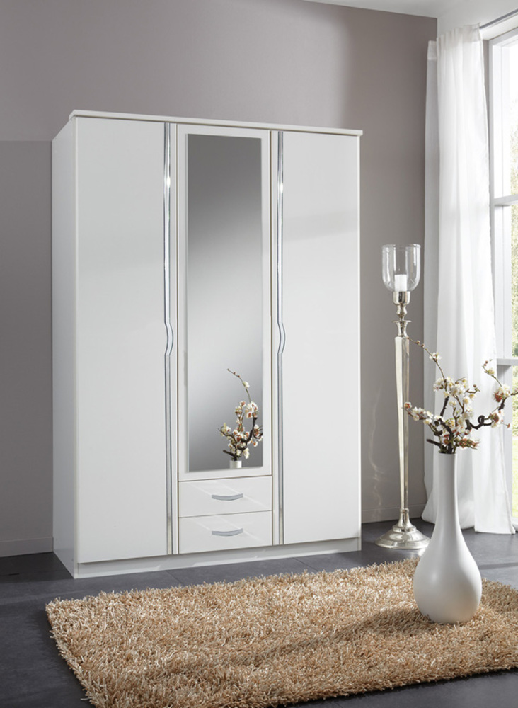 armoire 3 portes 2 tiroirs duo blanc. Black Bedroom Furniture Sets. Home Design Ideas
