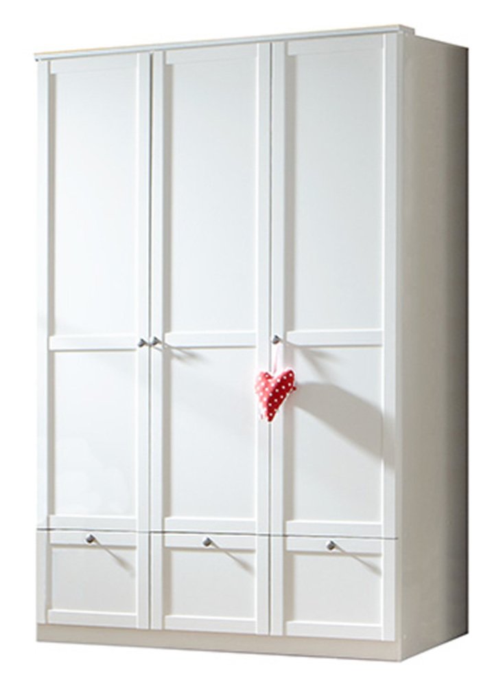 armoire 3 portes 3 tiroirs filou blanc. Black Bedroom Furniture Sets. Home Design Ideas
