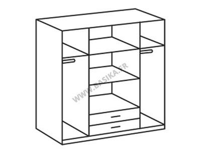 Armoire 4 portes 2 tiroirs Line