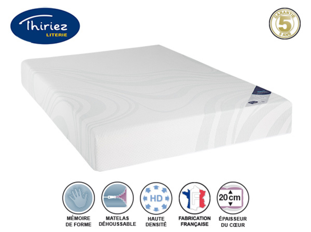 matelas mousse a memoire 45kg m3 memo fusion thiriez l 160 x h 20 x p 200. Black Bedroom Furniture Sets. Home Design Ideas