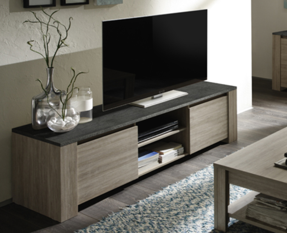 meuble tv 2 portes elba chene gris ardoise. Black Bedroom Furniture Sets. Home Design Ideas