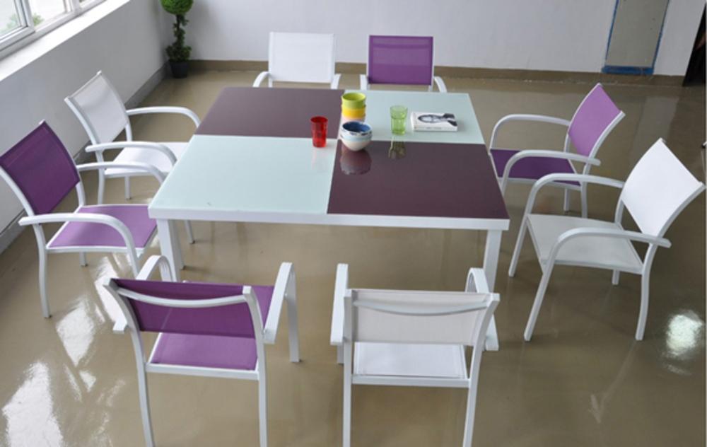 Ensemble table + 8 fauteuils Delos Blanc/mauve