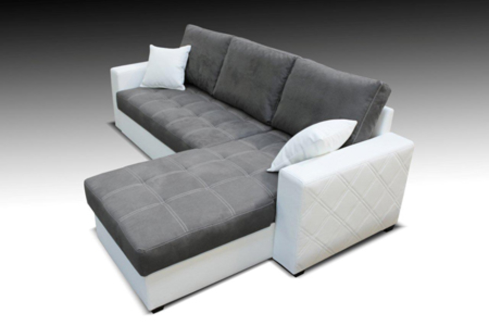 canape d 39 angle convertible et reversible faro blanc microfibre grise. Black Bedroom Furniture Sets. Home Design Ideas