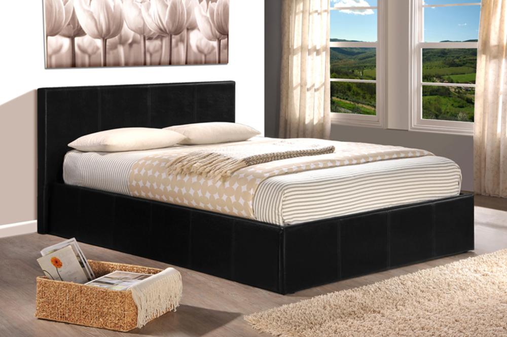 lit coffre skon noir l 151 x h 88 x p 200 5. Black Bedroom Furniture Sets. Home Design Ideas