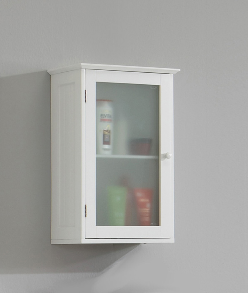 Meuble haut 1 porte stockholm blanc for Meuble haut salle de bain une porte
