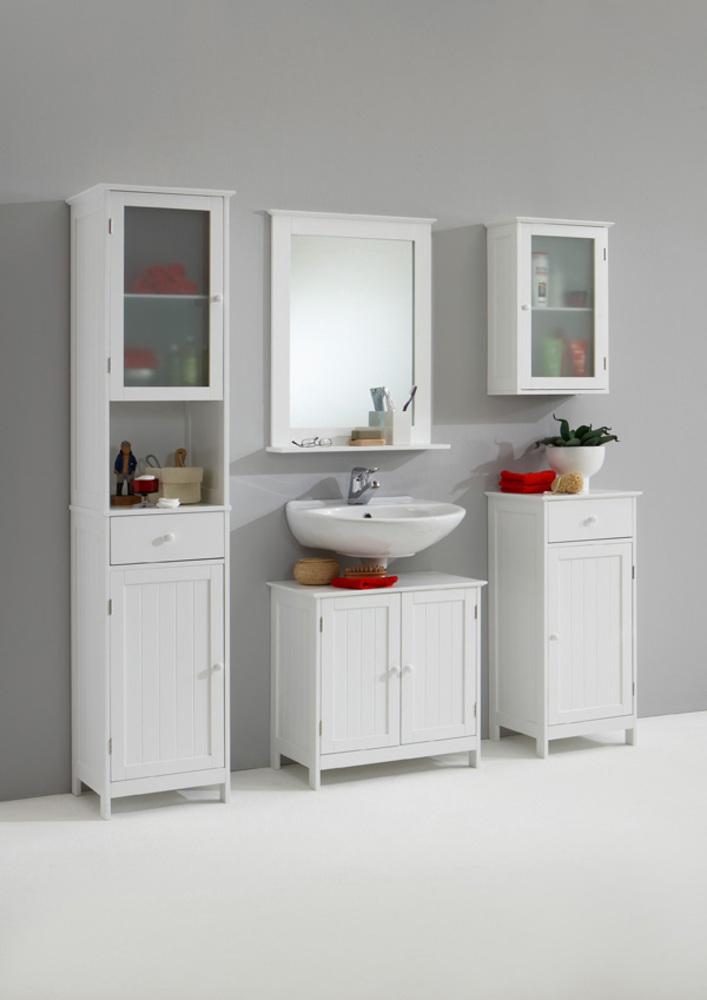Meuble haut 1 porte stockholm blanc for Meuble haut salle de bain 1 porte