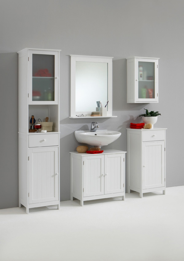 Miroir stockholm blanc for Element lavabo salle bain