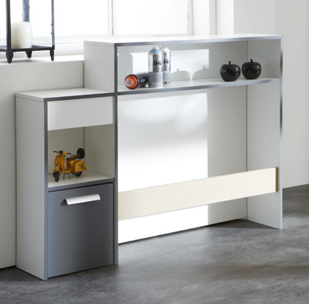 environnement pour lit george blanc gris graphite. Black Bedroom Furniture Sets. Home Design Ideas