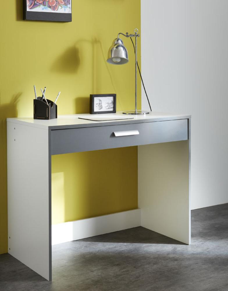 Bureau 1 tiroir george blanc gris graphite for Meuble bureau gris