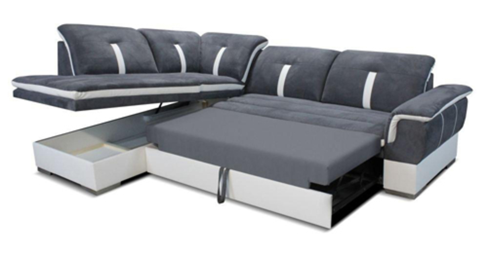 Canape d 39 angle droite convertible galaxia blanc gris for But canape d angle convertible