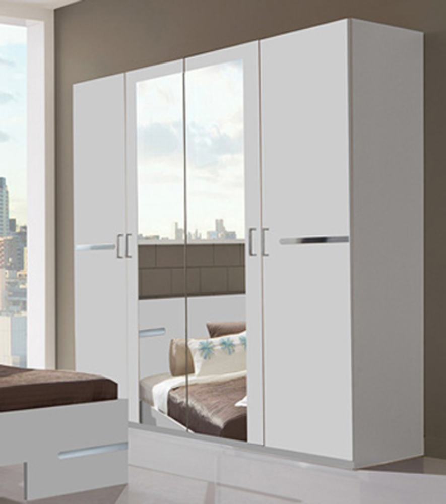 Armoire 4 portes anna chambre coucher blanc for Armoire moderne chambre