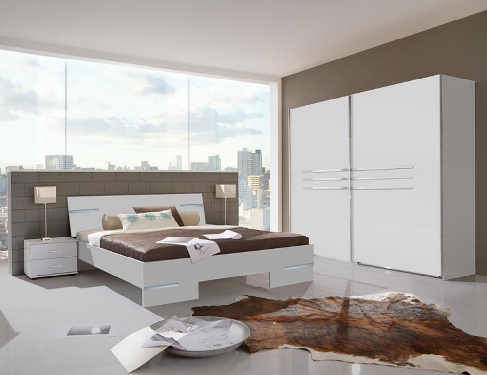 Lit anna chambre coucher blanc blanc l 149 x h 81 x p 200 for Chambre a coucher lit