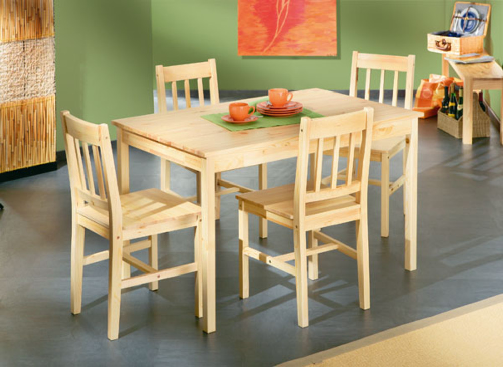 Ensemble table 4 chaises carola pin - Ensemble tables et chaises ...