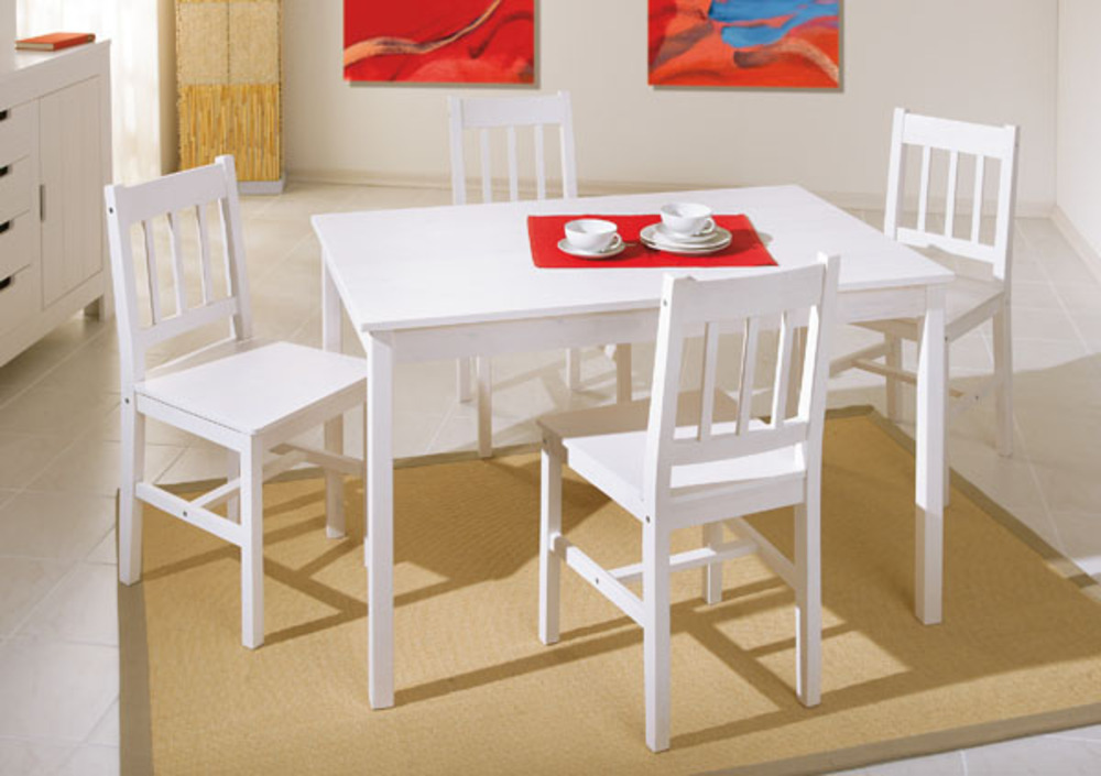 Ensemble table 4 chaises paloma blanc for Table de cuisine avec rallonge