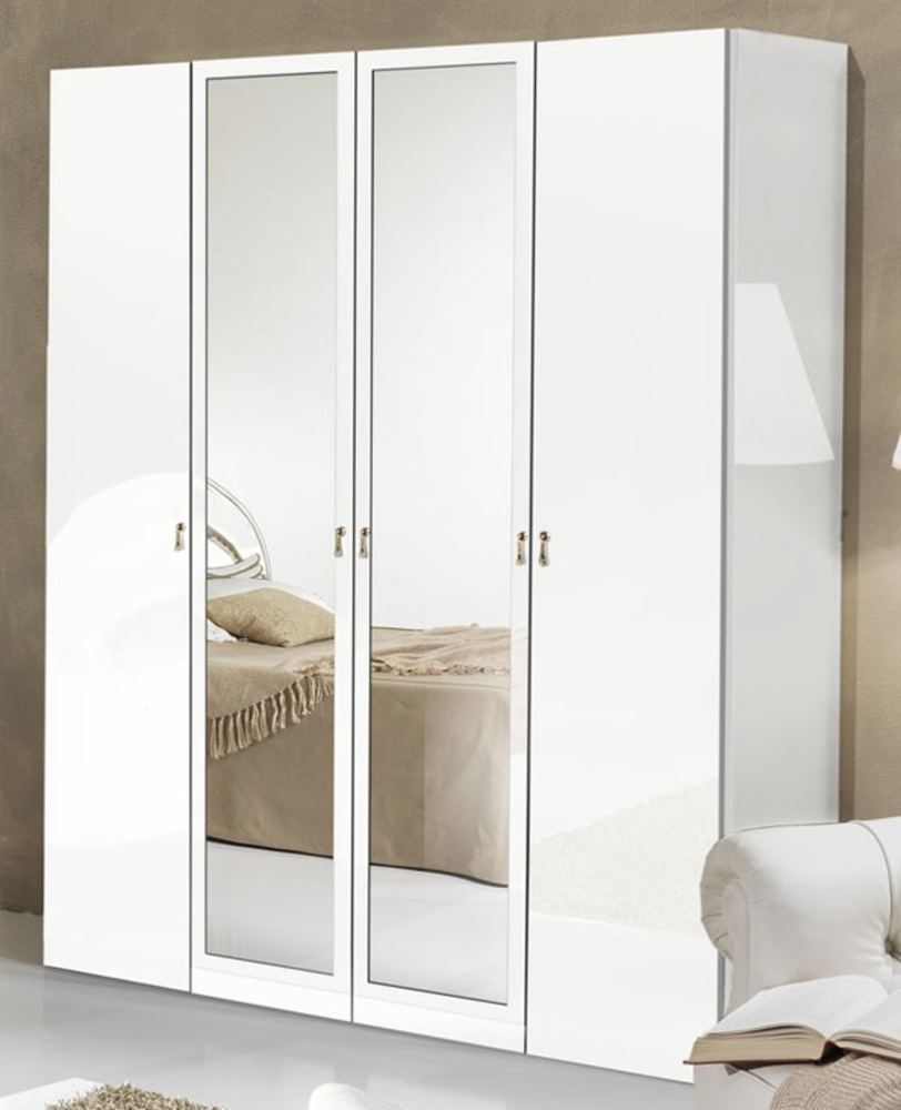 armoire 4 portes athena chambre a coucher blanc blanc. Black Bedroom Furniture Sets. Home Design Ideas