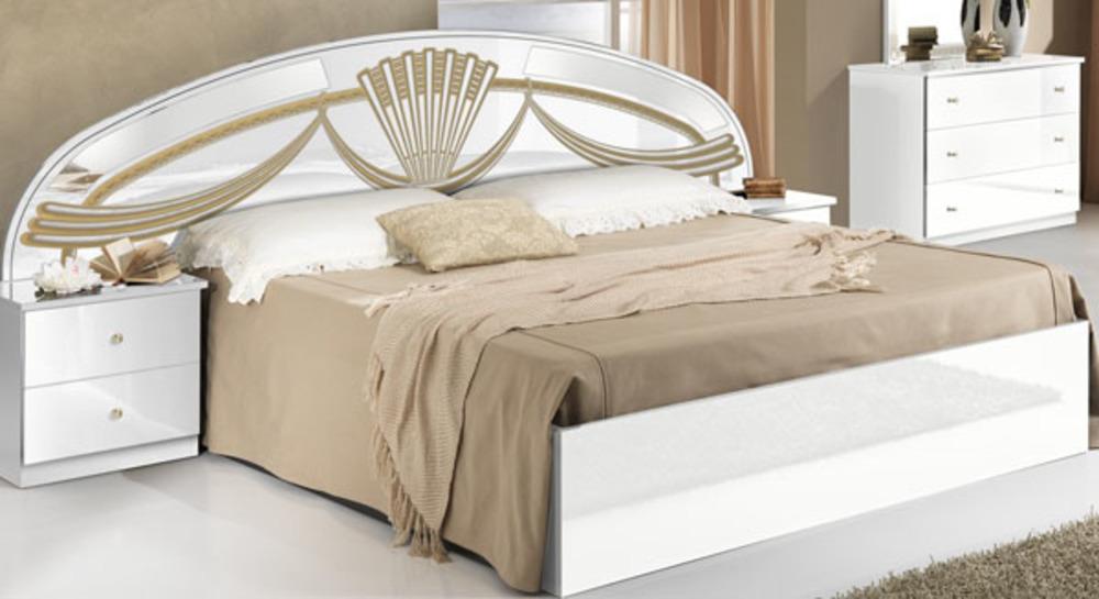 Lit athena chambre a coucher blancl 250 x h 106 3 x p 198 for Meuble blanc chambre a coucher
