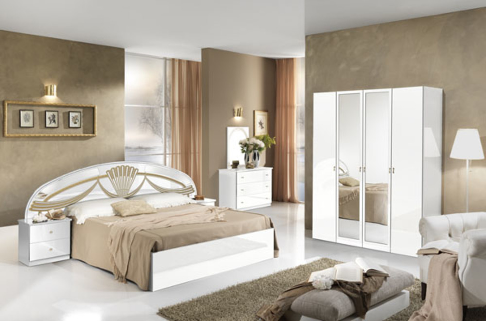 Lit athena chambre a coucher blancl 250 x h 106 3 x p 198 for Lit de chambre a coucher adulte