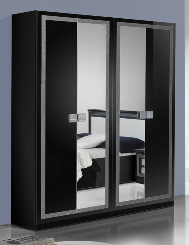 armoire 4 portes thema noir. Black Bedroom Furniture Sets. Home Design Ideas