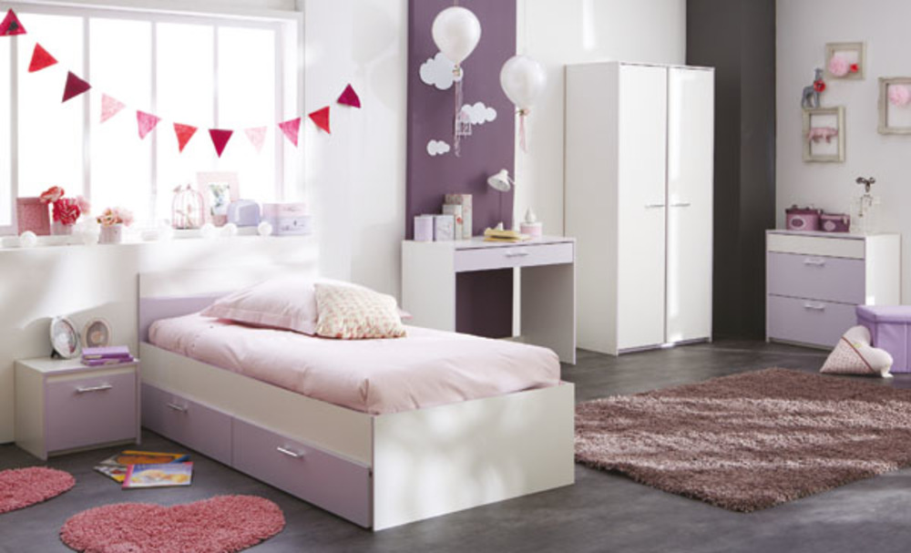 Lit lina blanc parme - Image chambre enfant ...