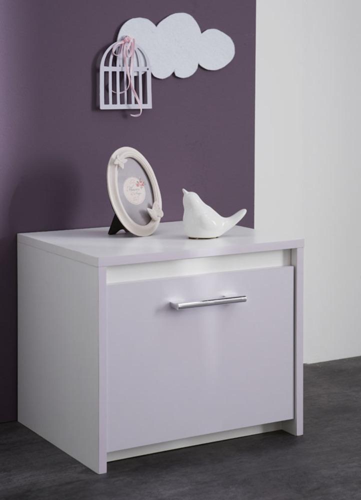 Chevet 1 tiroir Lina Blanc/parme