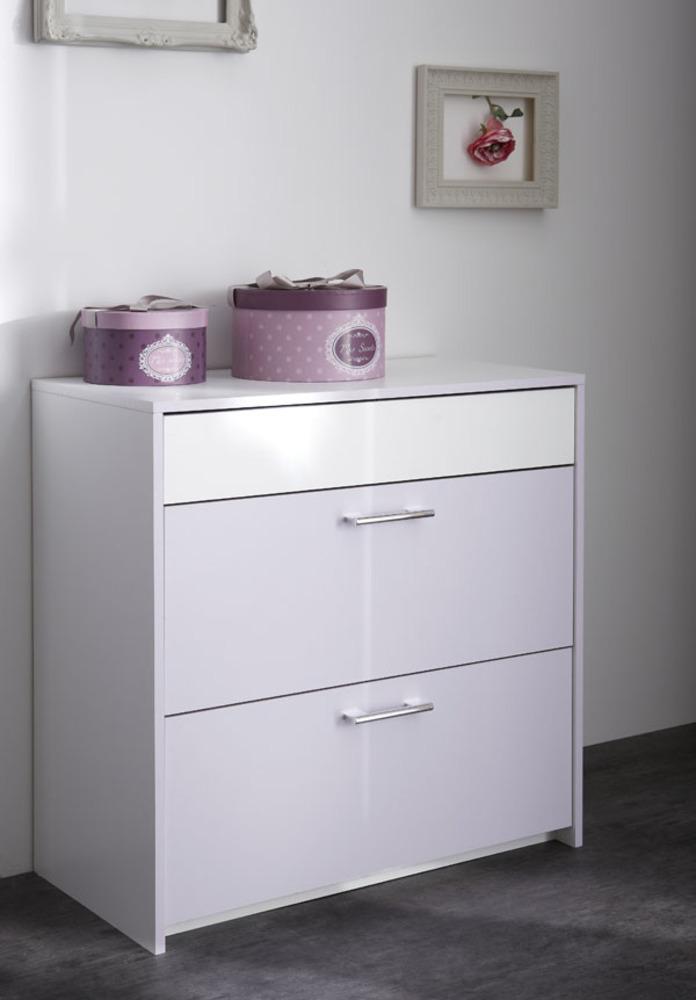 Commode 3 tiroirs Lina Blanc/parme