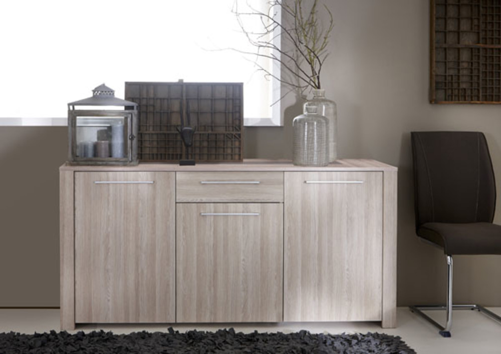 bahut 3 portes et 1 tiroir duchess chene beton clair. Black Bedroom Furniture Sets. Home Design Ideas