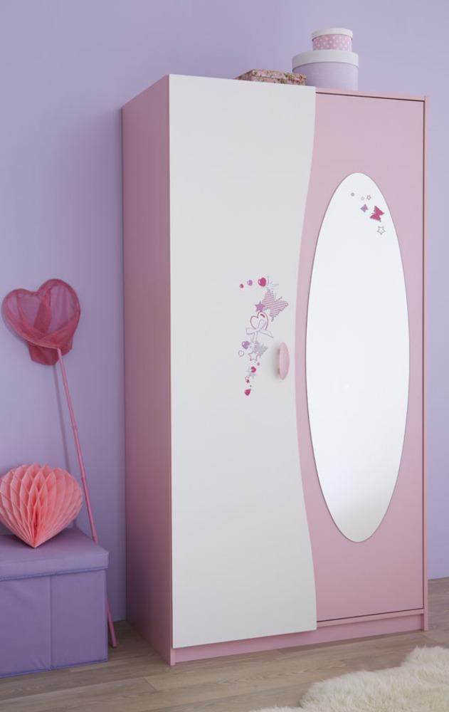 armoire 2 portes papillon rose blanc. Black Bedroom Furniture Sets. Home Design Ideas