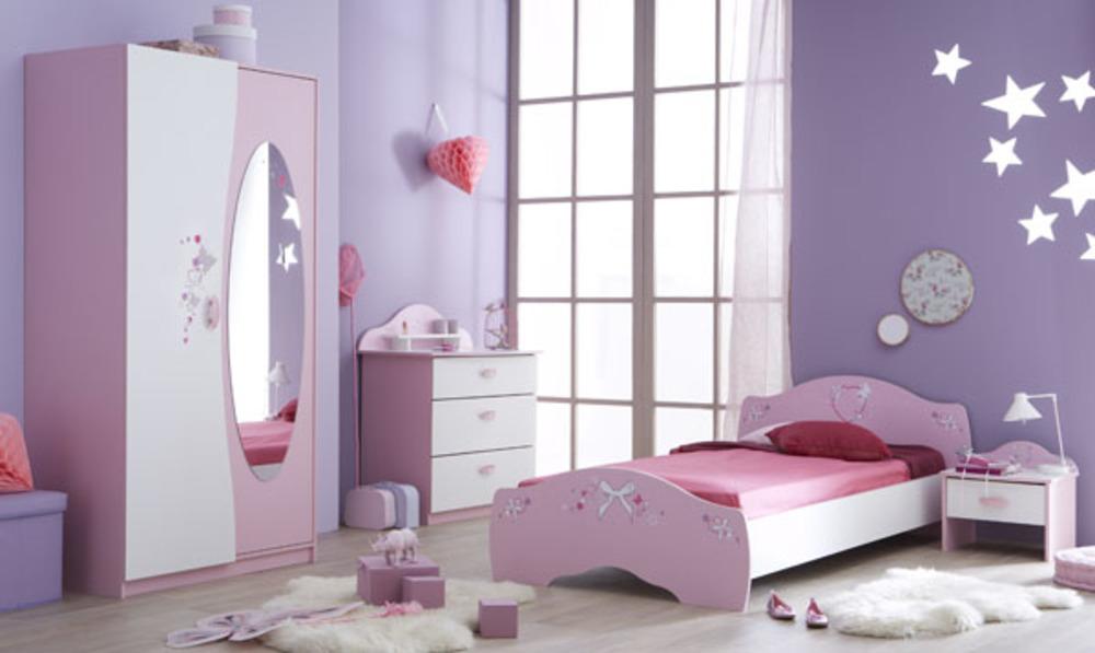 Lit papillon rose blanc - Bureau fille 5 ans ...